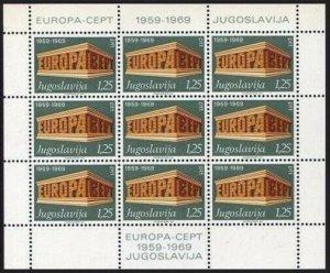 Yugoslavia 1003-1004 sheets,MNH.Michel 1361-1362 klb. EUROPE CEPT-1969.10th Ann.