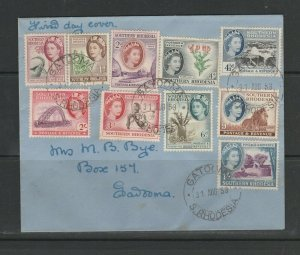 Southern Rhodesia 1953 Defs FDC, Plain, set to £1, Gatooma cds, 4 stamps on reve