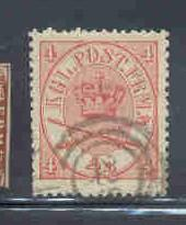 Denmark  Sc 13 1864 4 s Royal Emblems stamp used