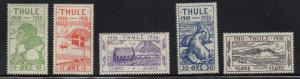 Greenland Thule 1935  local stamp set mint Facit T1-5