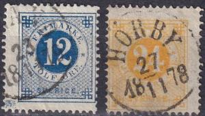 Sweden #32, 34  F-VF Used  CV $31.00