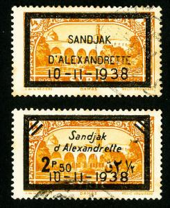 Alexandretta Stamps # 15-16 XF Used Set of 2 Scott Value $65.00