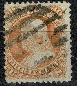 U.S.A. 1862-66 30c ORANGE (SHADES) USED (VFU) P.12 SG67