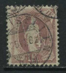 Switzerland 1901 1 franc claret perf 11 1/2 by12 used