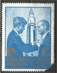 SAUDI ARABIA, Mahra State, used 250f, JOHN F KENNEDY Scott Damaged