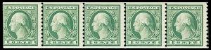 Scott 490 1916 1c Washington Coil Strip of 5 Mint NH Cat $6.25