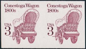 #2252b 3¢ CONESTOGA WAGON IMPERF PAIR , SHINY GUM MAJOR ERROR WL2408