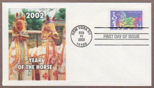 US # 3559 Year Of The Horse - Lakestamps Silk Cachet FDC - I Combine S/H