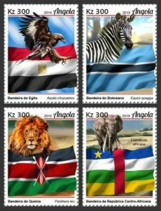 Angola - 2019 African Flags & Animals - Set of 4 Stamps - ANG190111a