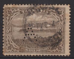 Tasmania Sc#105 Used Perfin A Toned