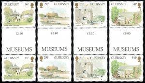 Guernsey 342-345 gutter pairs, MNH. Museums, Art Gallery, 1986