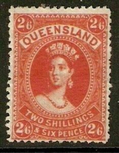 AUSTRALIA - QUEENSLAND SG153 1882 2/6 VERMILION MTD MINT