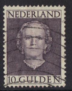 Netherlands  1949  used Queen Juliana  10gld  Sc  322
