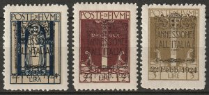 Fiume 1924 Sc 205-7 set high values MH*