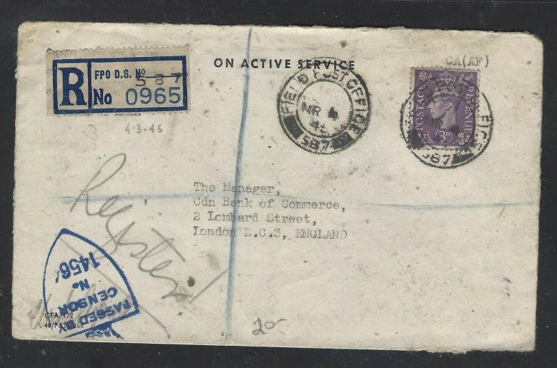 GREAT BRITAIN  (PP2101B)  1945  KGVI 3D OAS REG FPO DS 537 CENSOR TO ENGLAND
