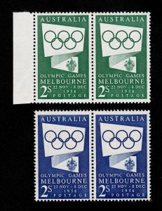 AUSTRALIA ⭐ 1956 OLYMPIC ISSUES 2S ⭐ SCOTT #277 AND #286 PAIRS MNH-OG