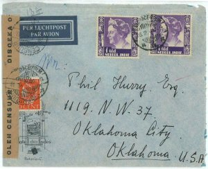 93711  - DUTCH INDIES  - POSTAL HISTORY - CENSORED Hotel  COVER to USA  1941