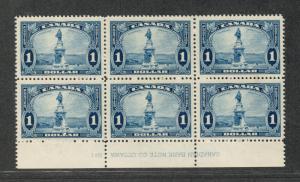 Canada Sc#227 M/NH/VF, Bottom Plate Block Of 6, Cv. $600