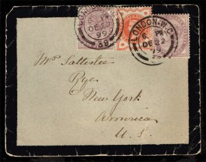 Great Britain #89 (2) and #111 on Mourning Cover