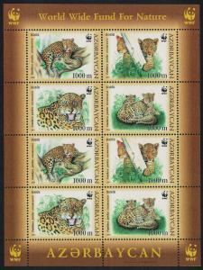 Azerbaijan WWF Caucasus Leopard Sheetlet of 2 sets 8v SG#591-594