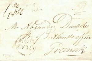 GB SCOTLAND Glasgow Greenock Underpaid 1795 {samwells-covers} P135