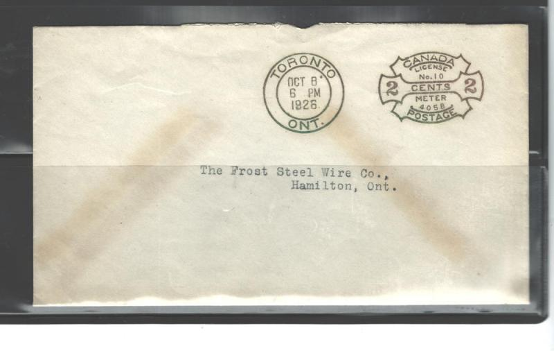 CANADA 1926 STAMPLESS COVER License #10-Meter 4056