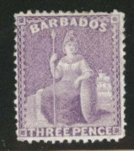 Barbados Scott 52  Britannia MH* 1878 perf 14, CC wmk CV$150