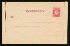 NORWAY Mi. K2 I POSTAL STATIONERY LETTER CARD AFSENDERS FLAP 53MM