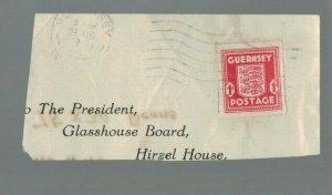 GUERNSEY 1944 WAR OCCUPATION stamps on Part envelope Glasshouse Board