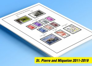 COLOR PRINTED ST. PIERRE AND MIQUELON 2011-2019 STAMP ALBUM PAGES (35 ill pages)