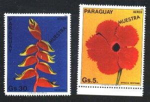 PARAGUAY 1983 FLORA,FLOWERS SPECIMEN MUESTRA VARIETY Mi 3664,6 YV 936-8 MNH