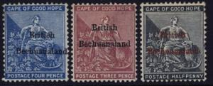 Bechuanaland 1, 2 & 3 mh w/CC & CA over crown watermarks - mark on back of 1 & 3