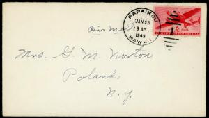 Hawaii Cover  ~ Papaikou 1949 To Poland New York ~ S4022