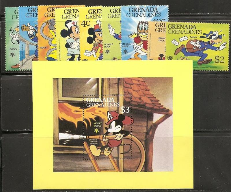 Grenada Grenadines 350-9 1979 Disney Child Year set and s...
