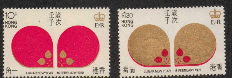 HONG KONG SG276/7 1972 CHINESE NEW YEAR (YEAR OF THE RAT) MNH