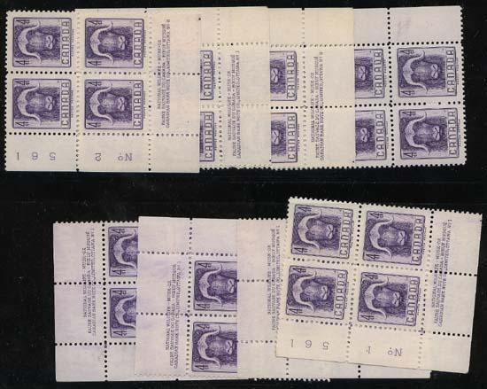 Canada - 1955 Musk Ox Plate Blocks VF-NH #352
