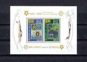 Sri Lanka, Scott cat. 1540a. Europa Stamps, 50th Anniversary s/sheet.
