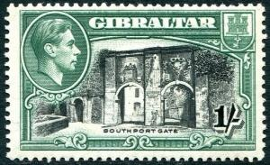 GIBRALTAR-1938-51  1/- Black & Green Perf 13½ Sg 127a AVERAGE MOUNTED MINT