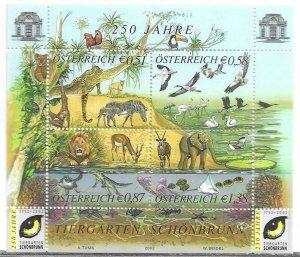 2002   AUSTRIA   -  SG.  2643 /2646 -  SHEETLET -  ANIMAL KINGDOM   -  MNH