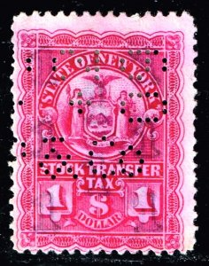US TAX STAMP STATE OF NEW YORK STOCK TRANSFER $1 STAMP