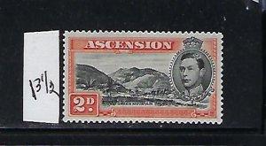 ASCENSION IS. SCOTT #43B 1938-53 GEORGE VI 2P (ORANGE)-PERF 131/2 - MINT LH