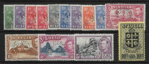 ST.LUCIA SG128s/38s 1938-47 SPECIMEN SET OF 14 (NO 1946 VALS) MTD MINT