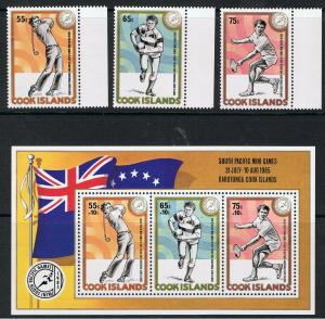 COOK ISLANDS 1985 SOUTH PACIFIC GAMES - STAMPS & MINI SHEET