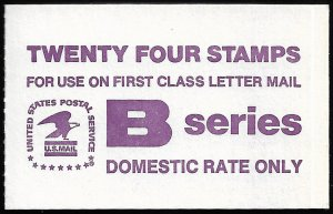 US #1819a COMPLETE BOOK, BK136, 18c B STAMP,  VF/XF mint never hinged, SUPER ...