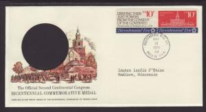 US Continental Congress 1974 Postmasters Typed FDC BIN