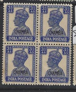 INDIA  CHAMBA  P1306B)  KGVI   3 1/2A    SG 115  BL OF 4      MNH