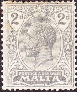 MALTA 1921 KGV 2d Grey SG100 MH