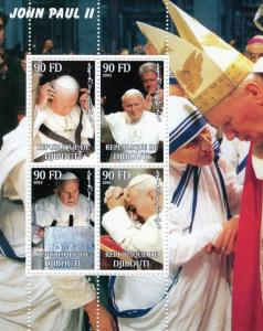 Djibouti 2003 Pope John Paul II/Mother Teresa/B.Clinton Sheetlet (4) Perforated