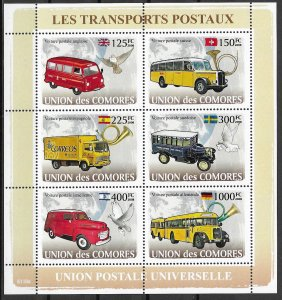 Comoro Islands MNH S/S Postal Transports 2008