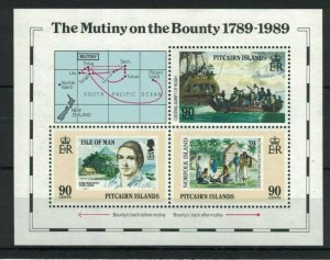 MPN15) Pitcairn Islands 1989 Bicentenary Settlement II Tripartite Minisheet MUH
